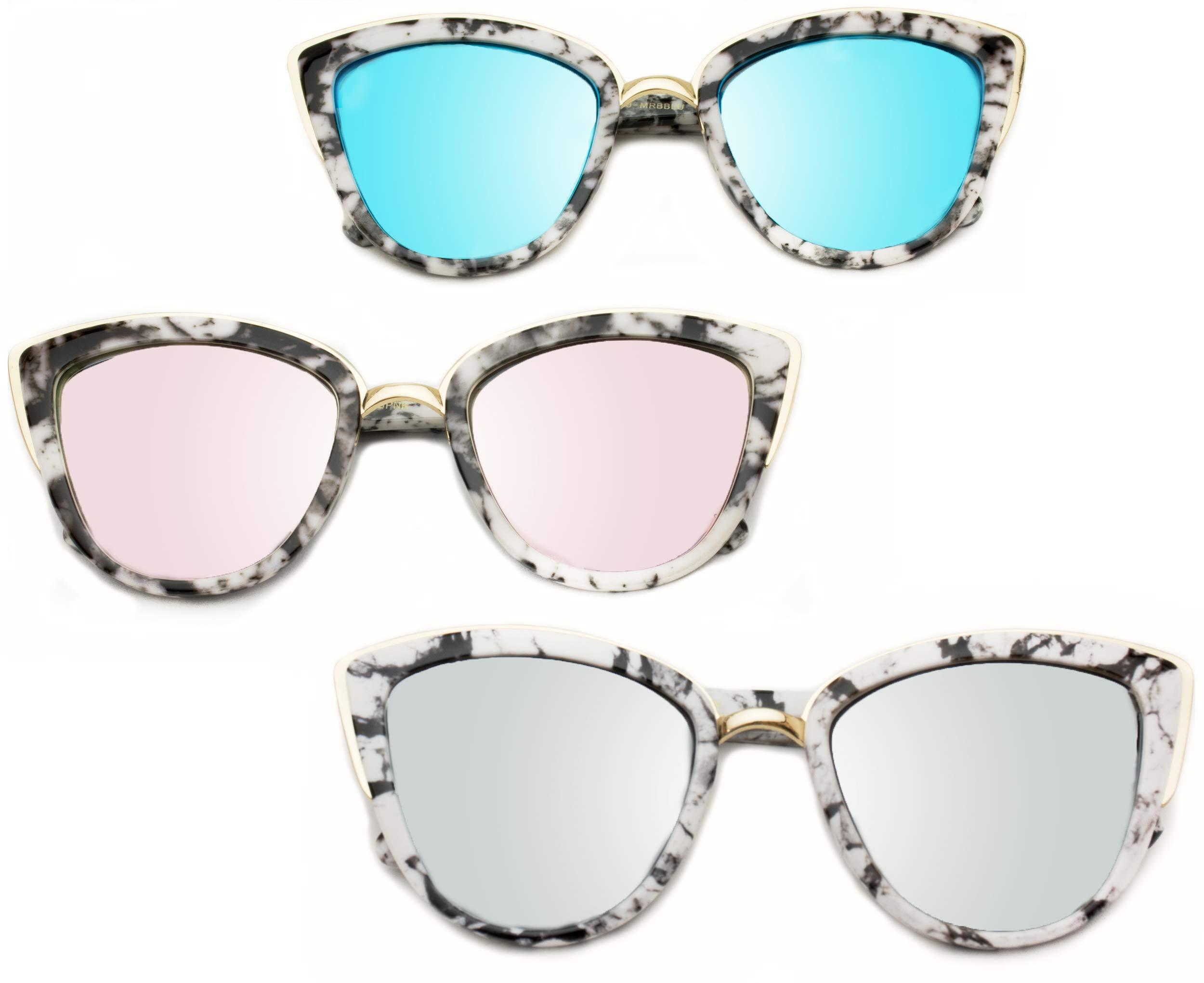 Womens Cat Eye Mirrored Revo Reflective Lenses Oversized Cateyes Sunglasses (Box: Mirror Purple/Mirror Blue/Mirror Silver, 54) by WearMe Pro (Image #3)