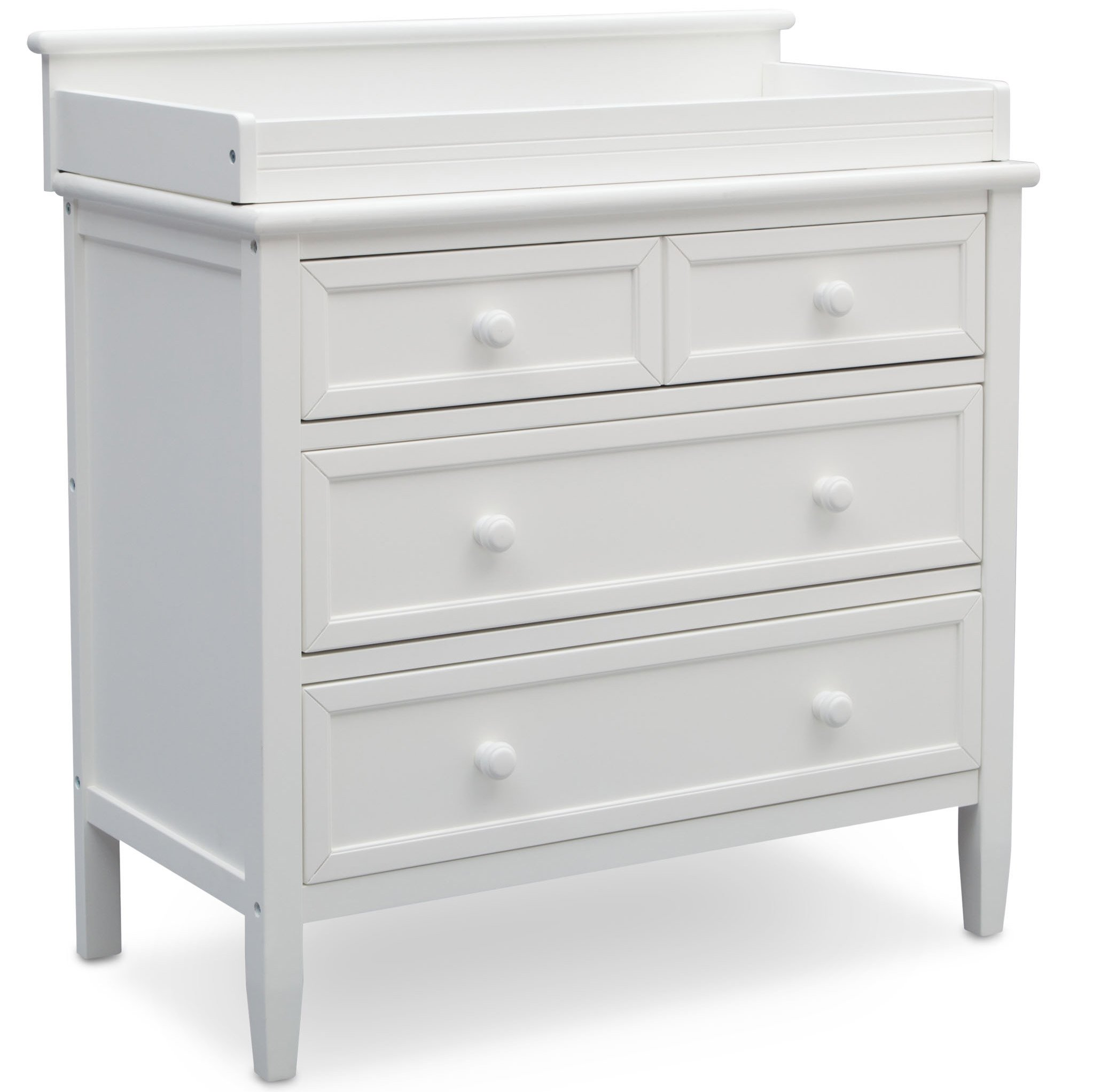 Delta Children Emery 3 Drawer Dresser with Changing Top, White Bianca