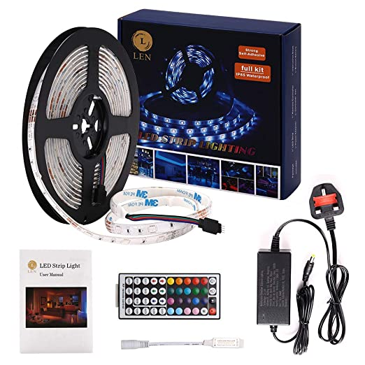 Led Strip Lights With Remote Waterproof 5m 16 4ft Color Changing Smd 5050 Rgb Rope Light Rf 44key Contoller And 12v2a