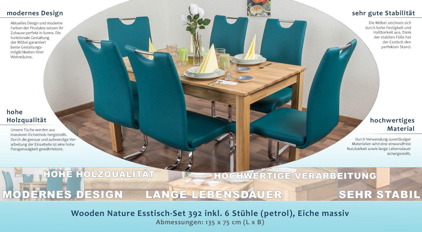 Wooden Nature Esstisch-Set 392 inkl. 6 Stühle (petrol), Eiche massiv ...