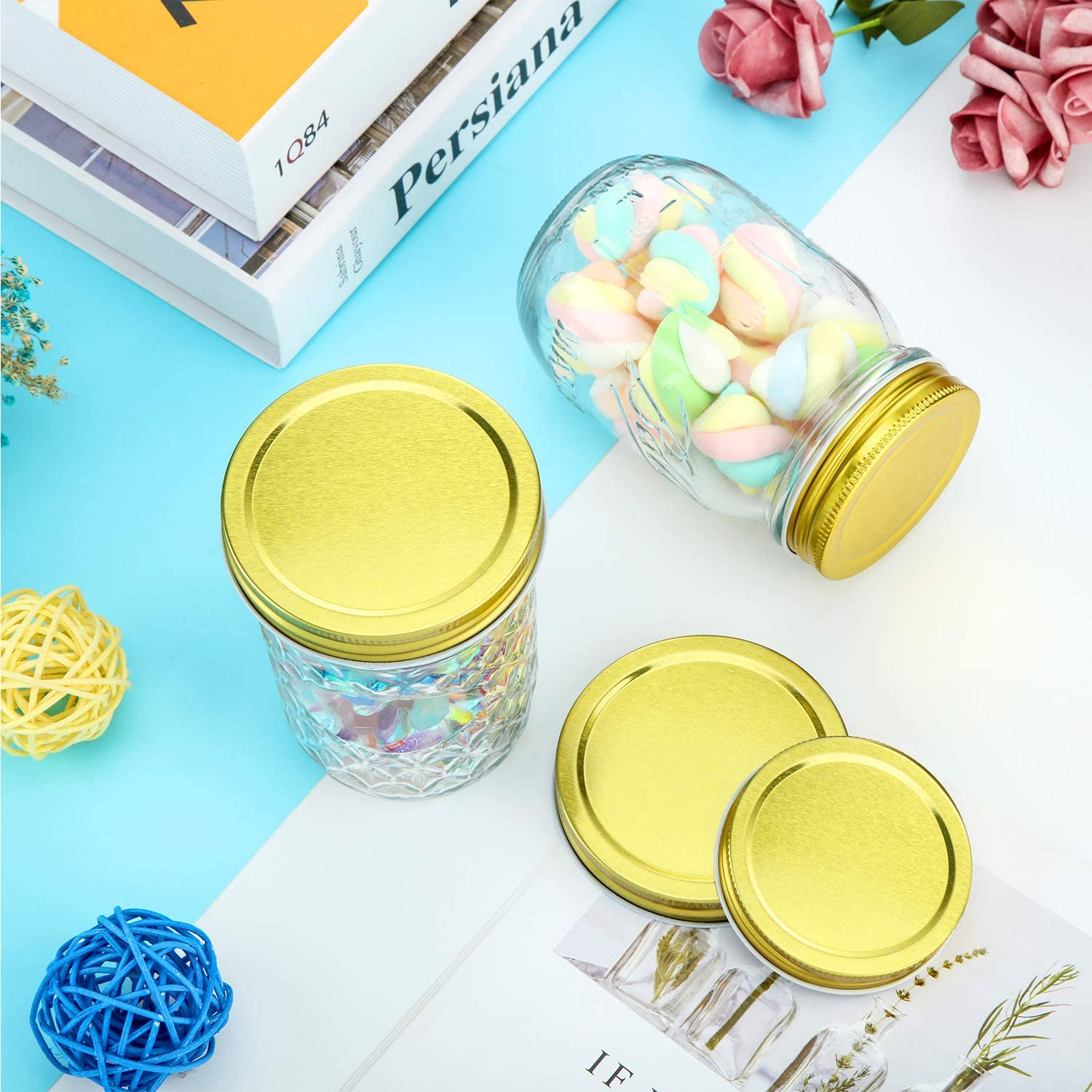 16 Pieces Gold Mason Canning Jar Lids Regular Mouth and Wide Mouth Lids Silicone Seals Leak Proof Secure Mason Storage Solid Caps
