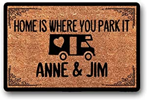 """WYFKYMXX Home is Where You Park It, Personalized, Coir Door Mat, Rv, Motorhome, Camper Doormat 18"""" x 30"""""""