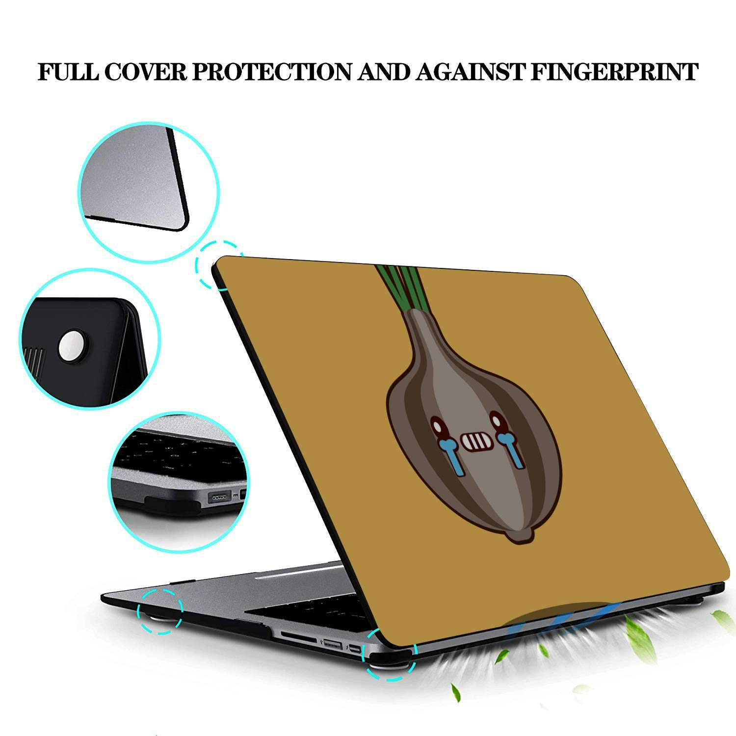 Cover for Laptop Cartoon Smiling Onion Vegetables Plastic Hard Shell Compatible Mac Air 11 Pro 13 15 Computer Cover Protection for MacBook 2016-2019 Version