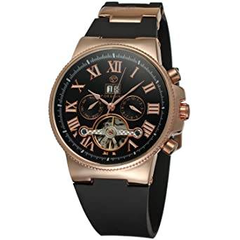 Forsining Mens Luxury Automatic Collection Day Calendar Wrist Watch with Plastic Band FSG2373M3R2