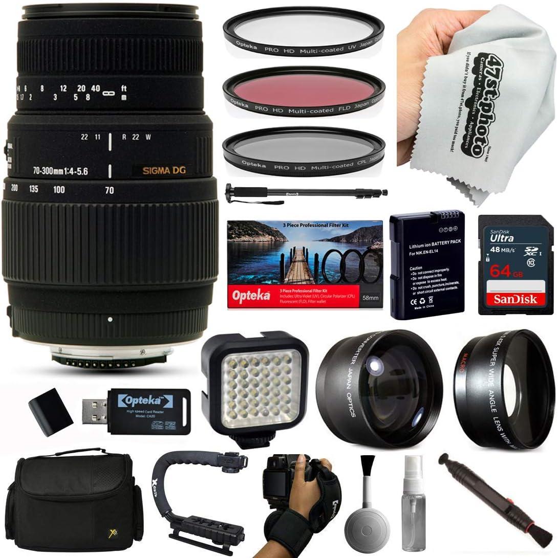 Sigma 70 – 300 mm Lente con 64 GB para Nikon D5500, D5300, D5200 ...