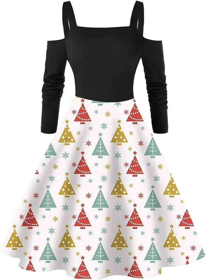 Boże Narodzenie damska sukienka z długim rękawem minisukienka elegancka bez ramion nadruk vintage sukienka wieczorowa sukienka na imprezę wieczÓr impreza swing sukienka: Odzież