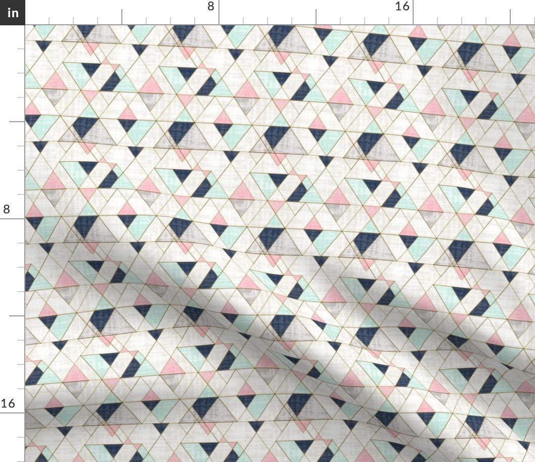 Spoonflower Fabric - Navy Mint Pink Triangles Geo Small Geometric Printed on Linen Cotton Canvas Fabric by The Yard - Sewing Home Decor Table Linens Apparel Bags