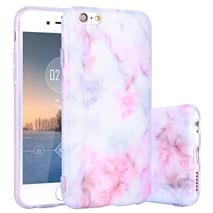 Funda iPhone 6S Mármol, ZXK CO Funda de Silicona Suave Case Cover Protección cáscara en Rosa Mármol Diseño para Apple iPhone 6/6S 4,7