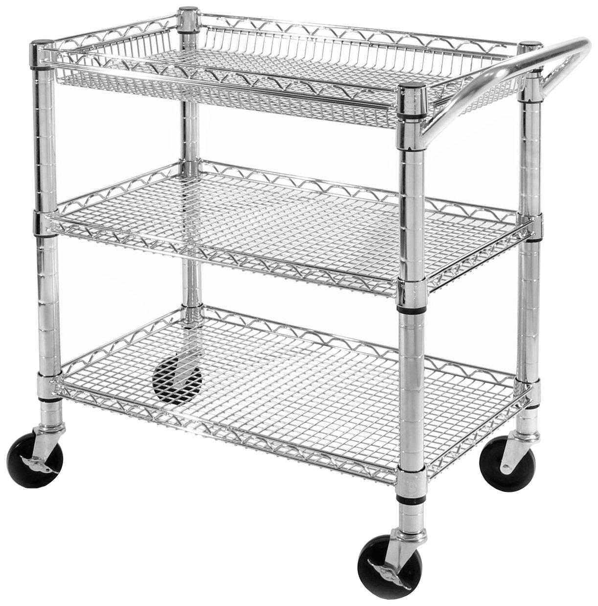 Seville Classics 3-Shelf Heavy-Duty Commercial Utility Cart - UltraZinc