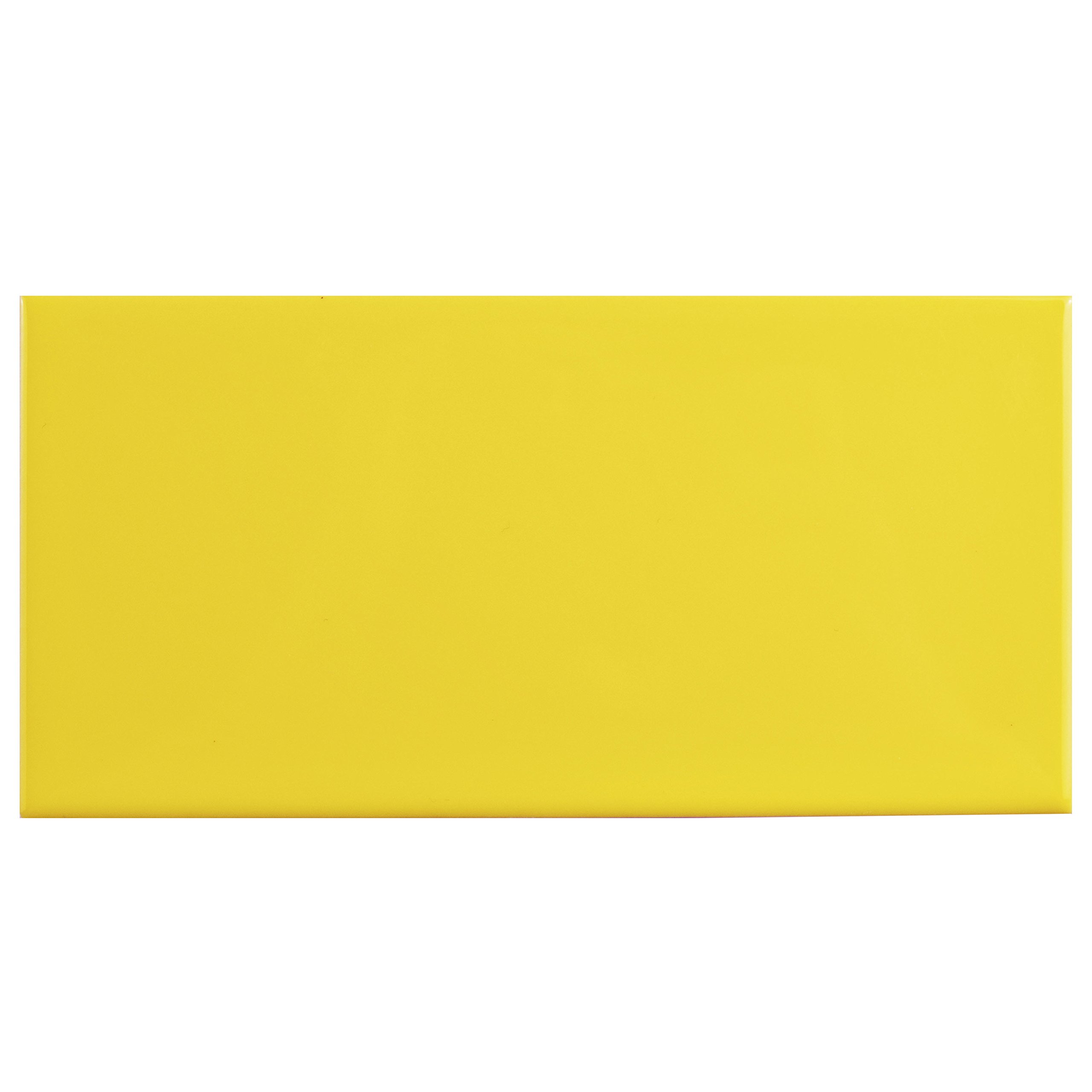 SomerTile WXR3PSCY Pente Subway Ceramic Wall Tile, 3'' x 6'', Glossy Canary Yellow
