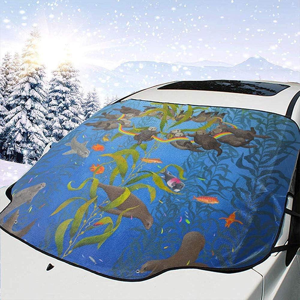 Alice Eva Nutrias de mar Sellos Arco Iris Parabrisas del Coche Protector Solar Pantalla Frontal Agua Luz Solar Cubierta de Nieve