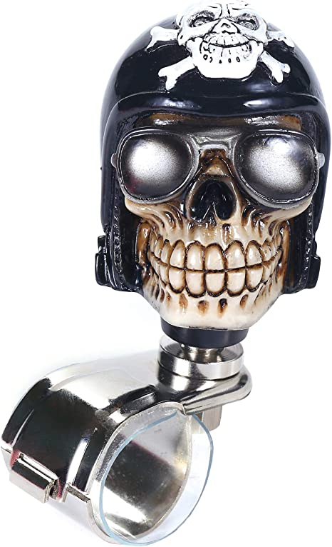 Bashineng Power Handle Spinner Skull Car Assist Ball Steering Wheel Suicide Control Knob Purple