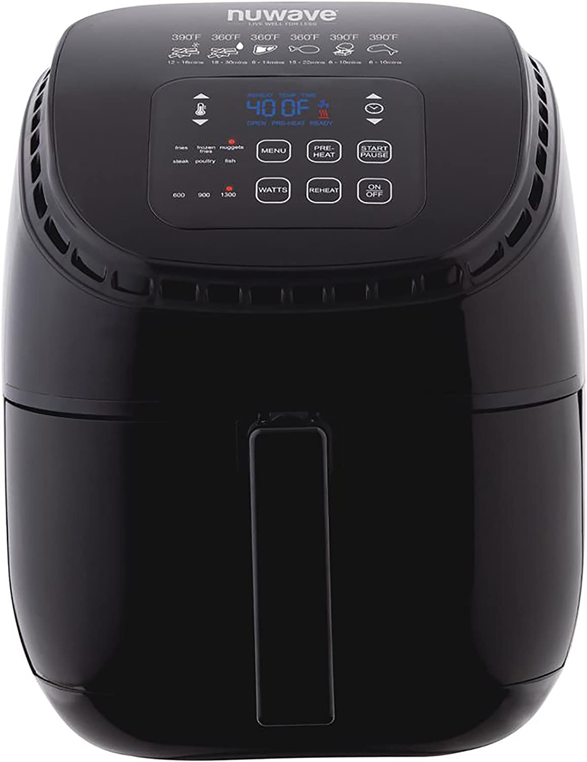 NUWAVE BRIO 3-Quart Digital Air Fryer cooking package with one-touch digital controls, 6 easy presets, precise temperature control, recipe book, wattage control, and advanced functions like PREHEAT and REHEAT
