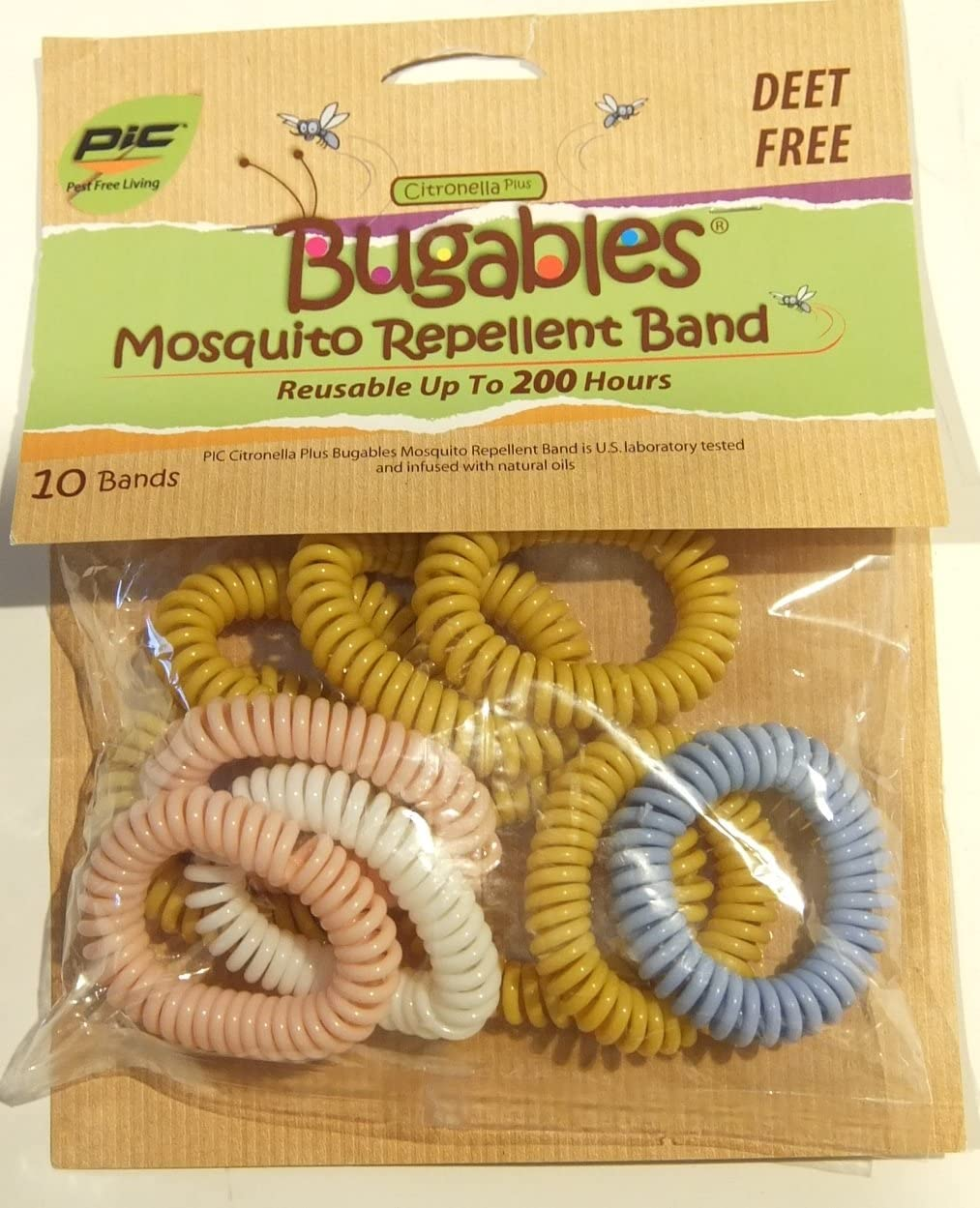 Bugables Deet Free Mosquito Repellent Spiral Coil Band, Citronella Plus, Assorted Colors (Pack of 10)