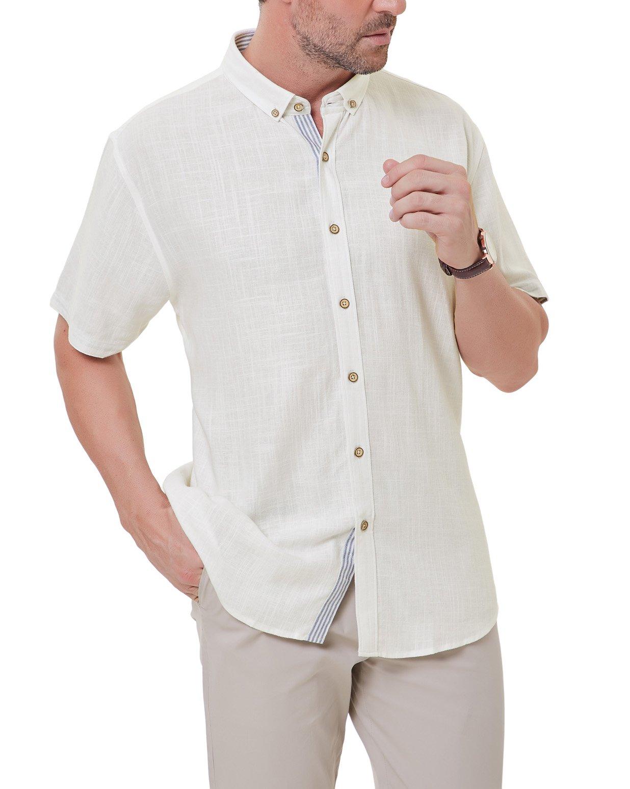 PAUL JONES Men's Short Sleeve Button Down Casual Shirt Soft Linen Shirts