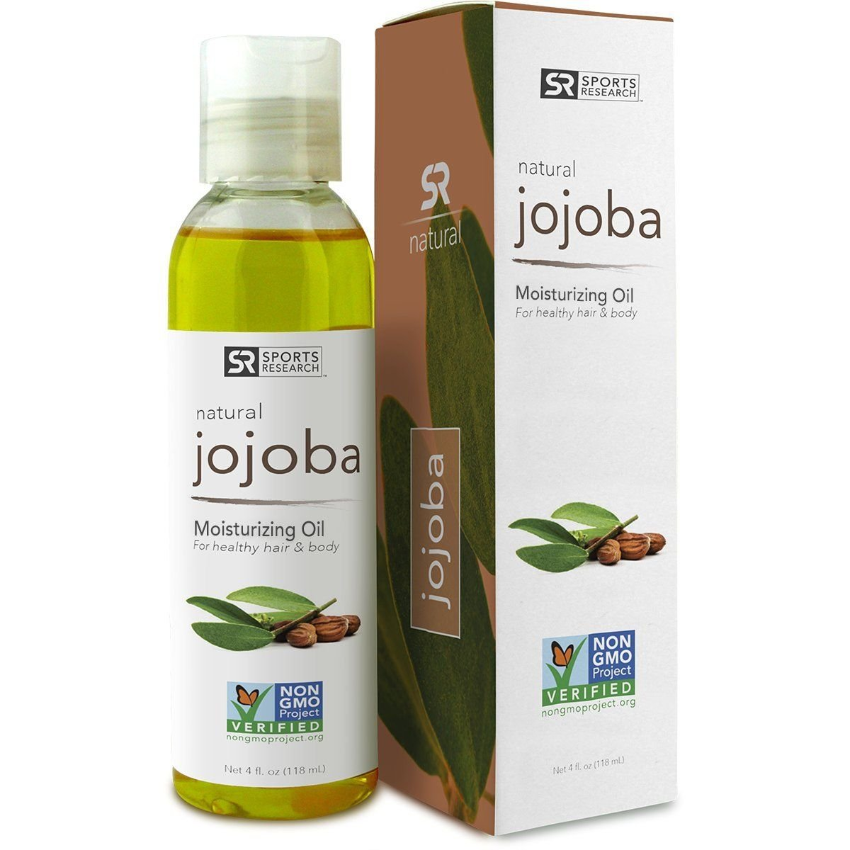Jojoba Oil 4oz. Non-GMO 100% Organic Oil for Hair, Skin, Scalp and Massage Carrier Oils - UV Resistant BPA Free Bottle by Sports Research B00Y1HNYW4