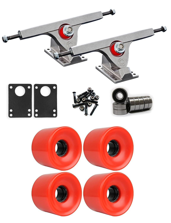 Caliber Raw Longboard Trucksホイールパッケージ65 mm x 51.5 MM 83 A 485 Cレッド   B01IJ6E8G8