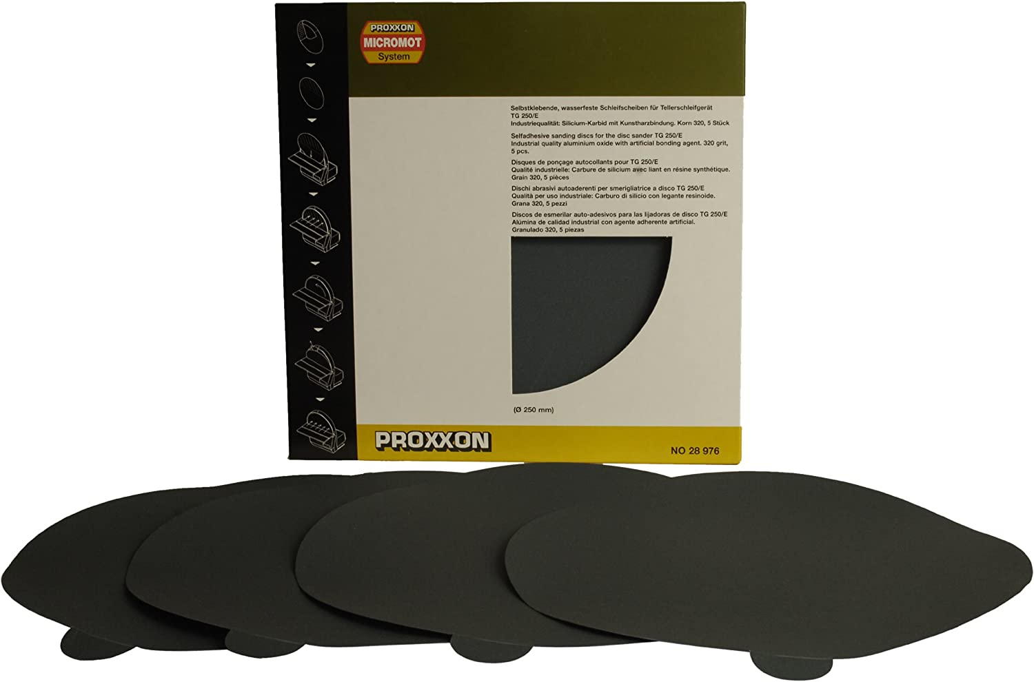 5/ Pieces / The Self Adhesive Silicon Carbide Sanding Discs for TSG 250//and The Wheat 320 Proxxon 28976/
