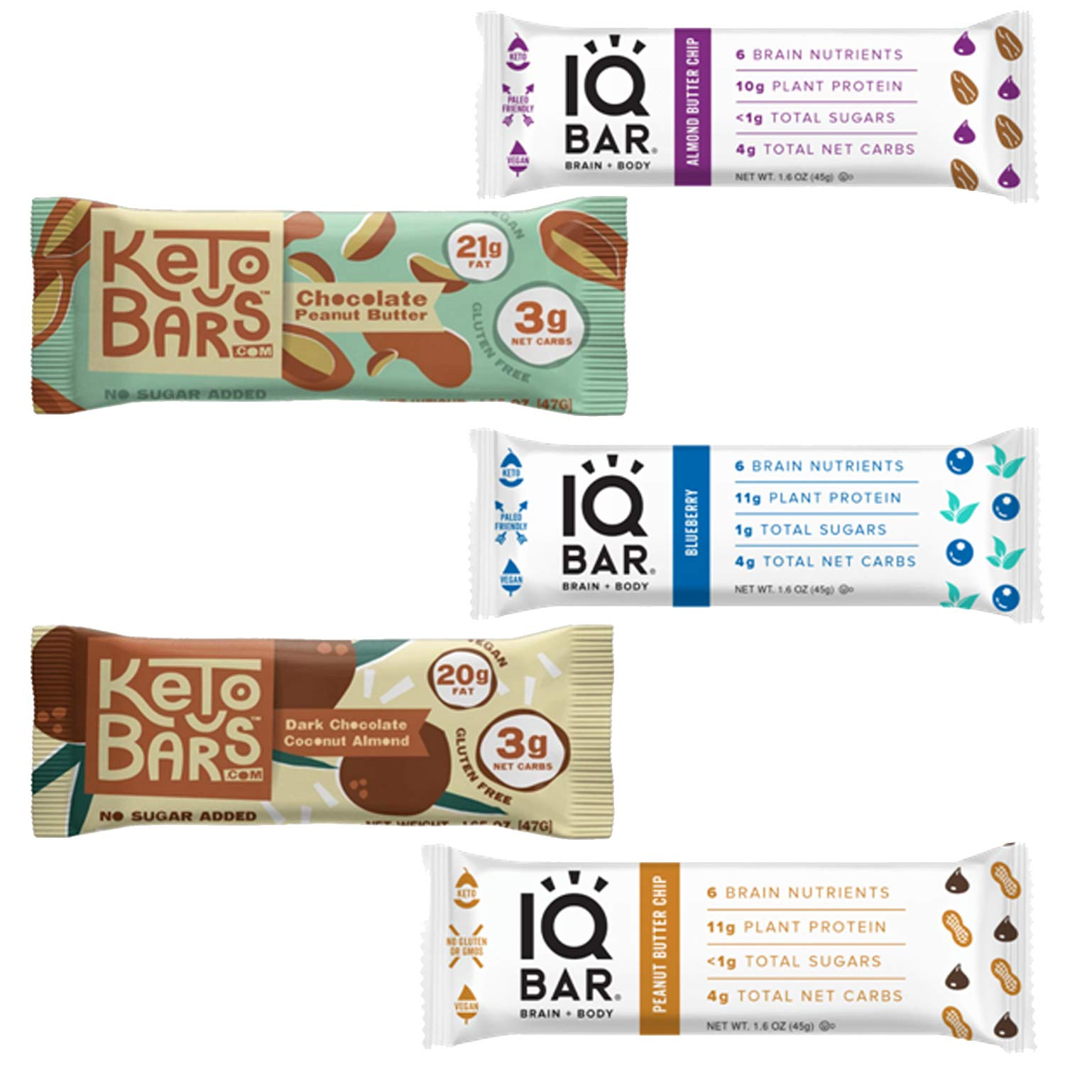 KETO Snack Bars Variety Pack: Assortment Of 5 Ultra Low Carb (4G Or Less) 1G of Natural Sugar, High Fat, Ketogenic Friendly, Gluten-Free Bars. by BUNNY · JAMES ·