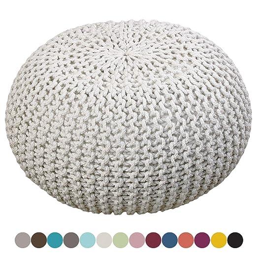 Puff Taburete de Punto Blanco Lino diámetro 55 cm, Altura 37 cm