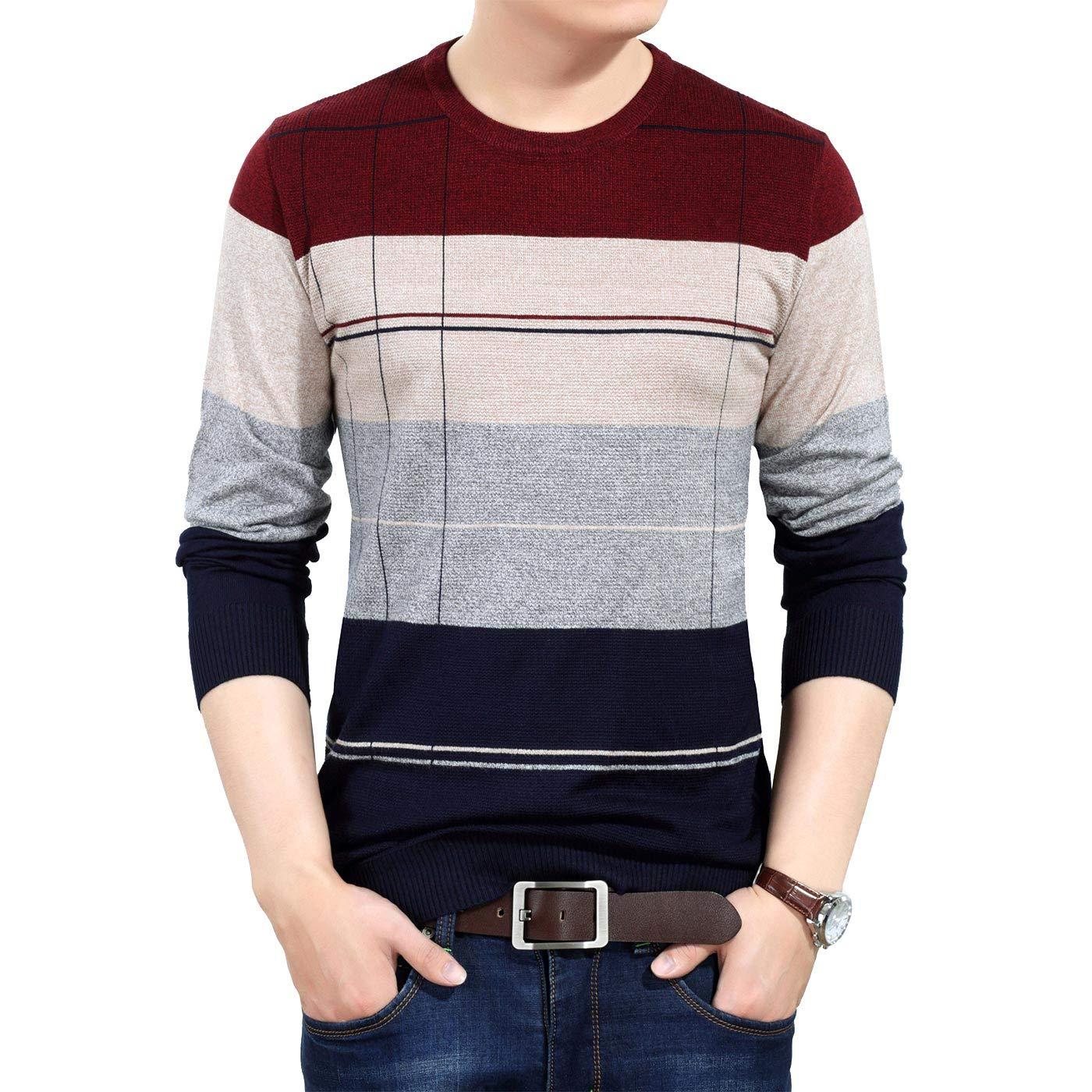 AIEOE Men Casual Stripe Sweater Soft Slim Modern Tops
