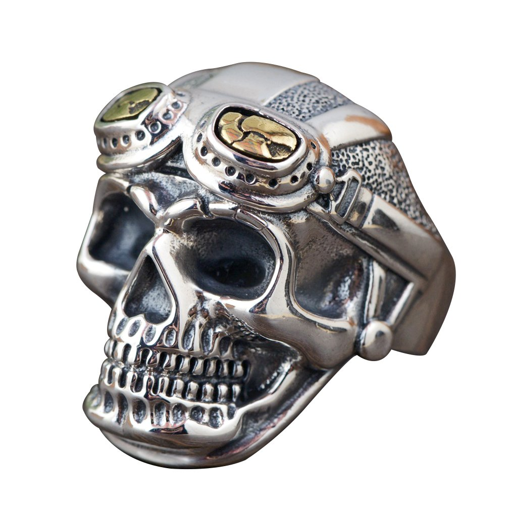 Cool Gothic 925 Sterling Silver Skull Head Open Ring with Glasses for Men Boys Adjustable Size 8.5-11 by For Fox