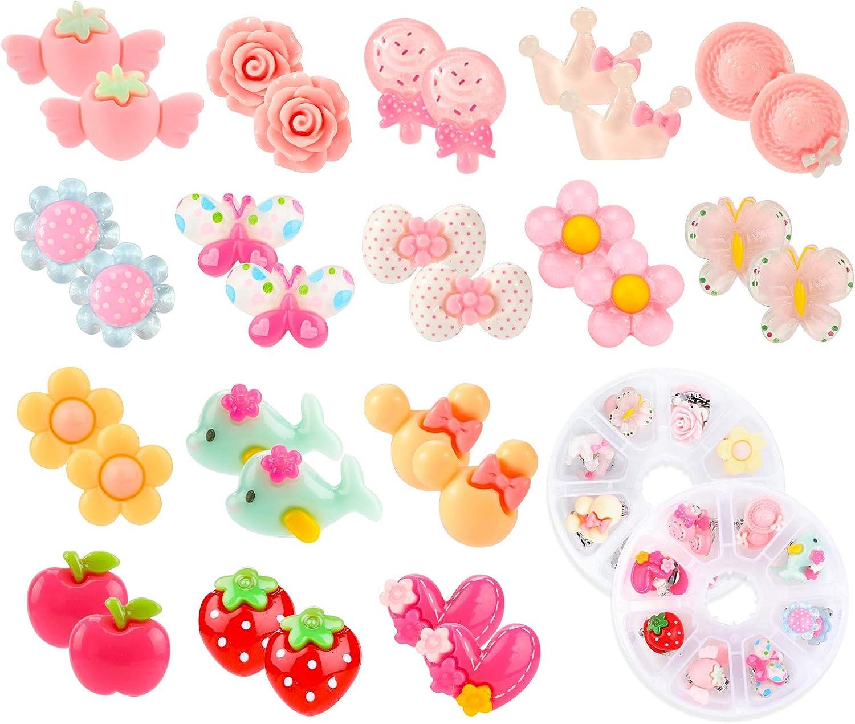Hifot 16 pares Pendientes de clip Pendientes de diseño sin perforaciones Vestir accesorios de joyería princesa para niñas niños pequeños en 2 cajas claras
