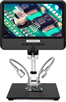 Andonstar AD208 Coin Microscope with 8.5 Inch Screen 260X LCD Lab Handheld USB Digital Microscopes for PCB Repair Soldering Coin Collection