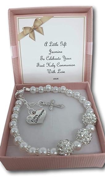 grossiste d3f96 a1a26 Idée cadeau - Bracelet première communion en fausses perles blanches pour  Fille avec carte personnalisée