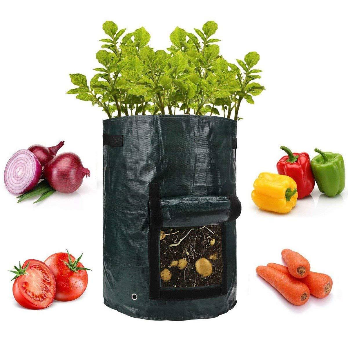 DOOLLAND Potato Growing Bag, 2-Pack 10 Gallon Garden Potato Grow Bag Vegetables Planter Bags