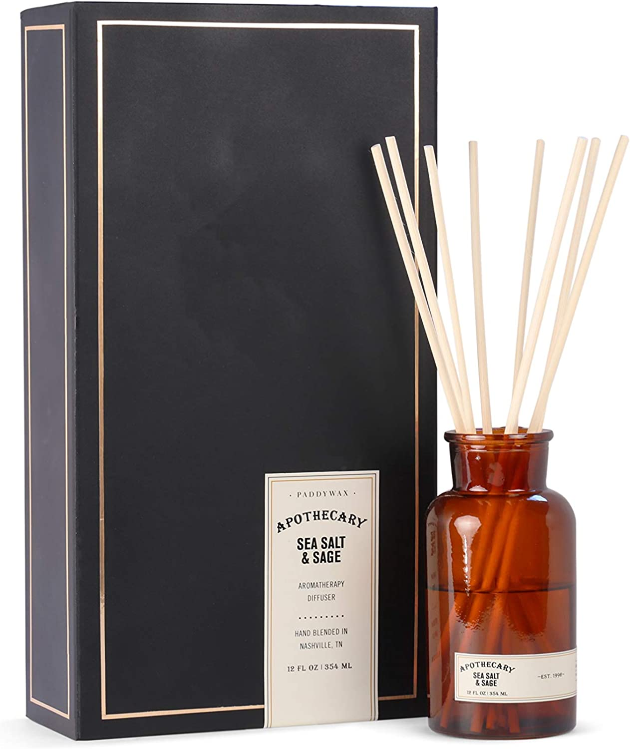 Paddywax Candles Apothecary Collection Reed Diffuser Set, Sea Salt & Sage