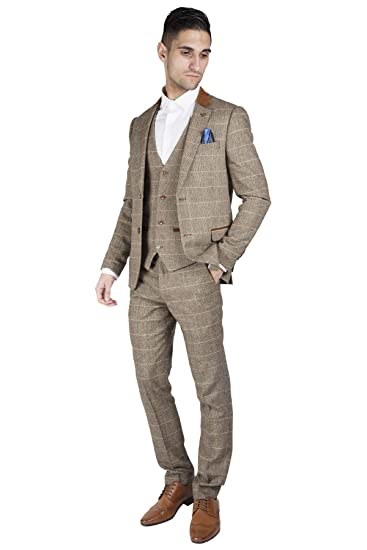 Marc Darcy Mens 3 Piece Slim Fit Vintage Tan Tweed Inspired Check With Elbow Pads Casual Business Wedding Suit Formal Blazer Waistcoat And Trousers