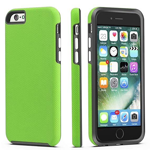 official photos 0efb7 6bb39 iPhone 6 / 6s Case, CellEver Dual Guard Protective Shock-Absorbing  Scratch-Resistant Rugged Drop Protection Cover for Apple iPhone 6 / 6S  (Lime Green)