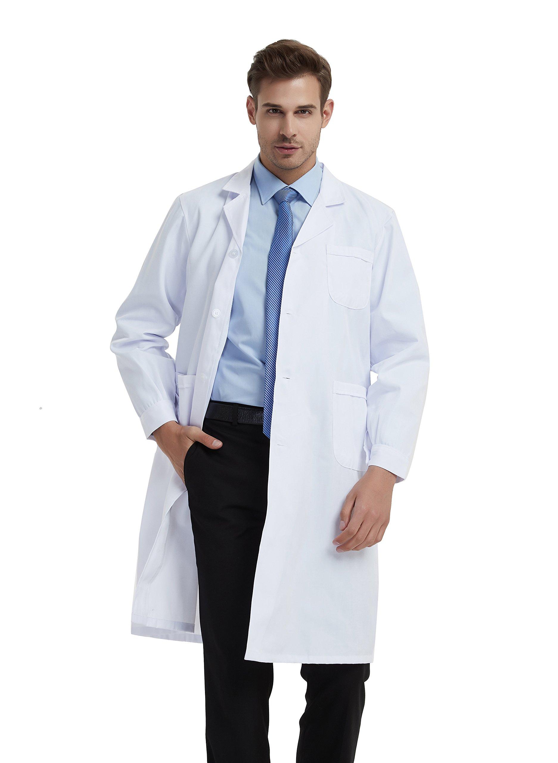 BSTT Men Lab Coat White Medical Uniforms Scrubs 2018 New Improvement Buttoned Sleeves Thin L