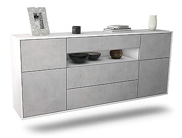 Korpus Weiss matt Front Beton Optik 180x77x35cm Push-to-Open Dekati Sideboard Lakewood h/ängend