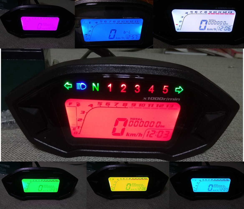 Samdo LCD Universal Motorcycle Speedometer Gauge Odometer 5 Gear 7 Backlight 13000 RPM 199 KMH MPH Motorcycle Tachometer by Samdo