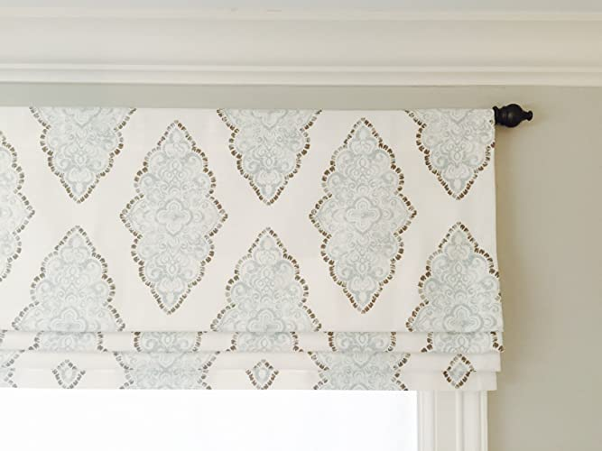 Faux Roman Shades Part - 48: Faux (Fake) Roman Shade Valance With Lining. White, Blue And Grey.