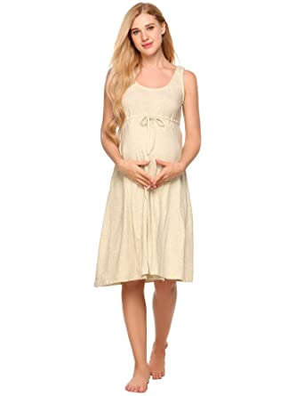 68fc4bbb2699a Ekouaer Women O-Neck Sleeveless Solid Front Tie Nightdress Breastfeeding  Nursing & Maternity Dress
