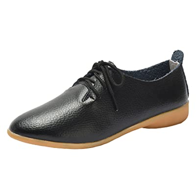 WUIWUIYU Womens Girls 3 Eyelets Lace-Up Oxfords Shoes Casual Comfort Walking Driving Flats | Oxfords