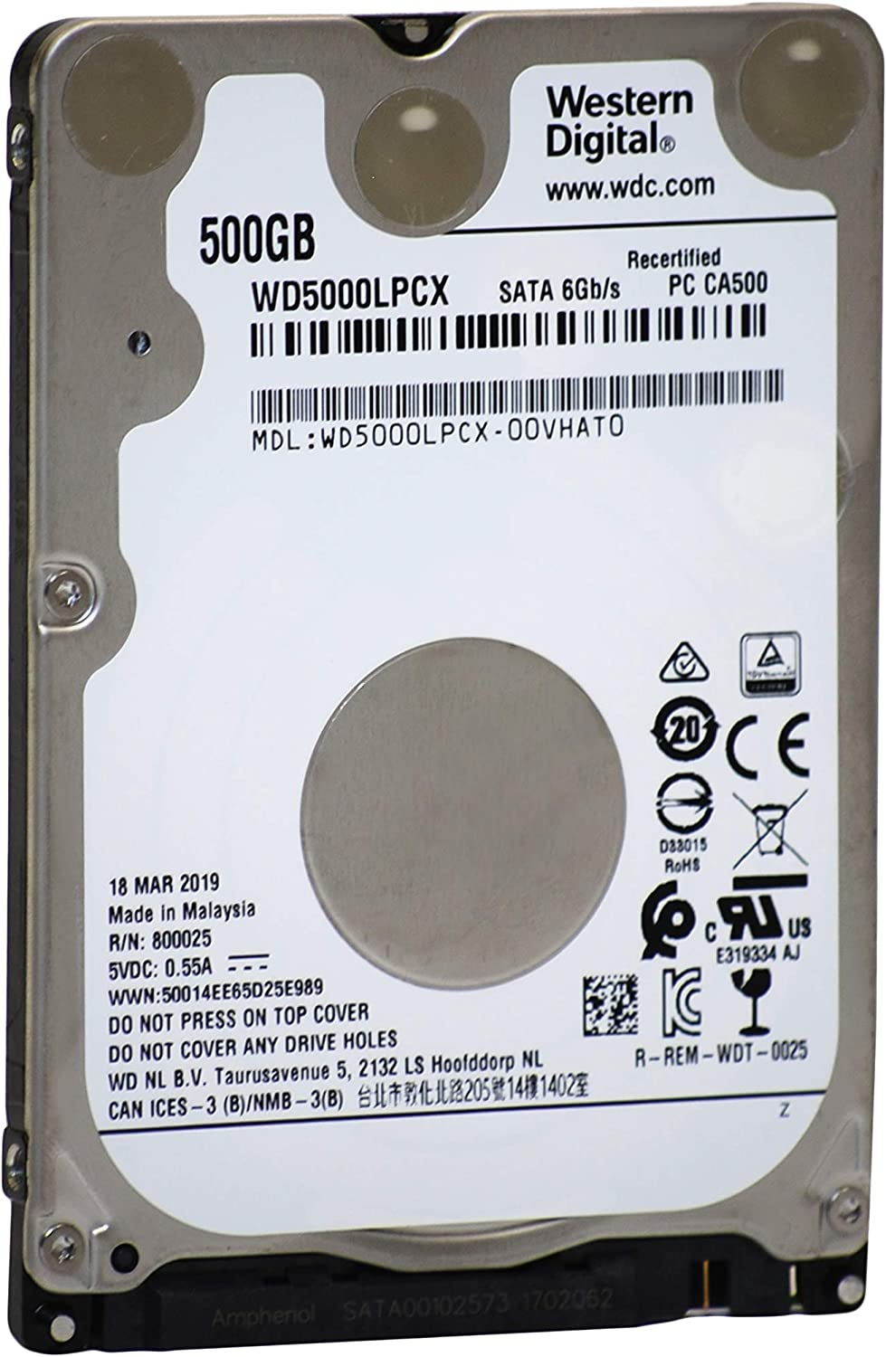 WD Blue 500GB Mobile Hard Disk Drive - 5400 RPM SATA 6 Gb/s 7.0 MM 2.5 Inch - WD5000LPCX (Renewed)