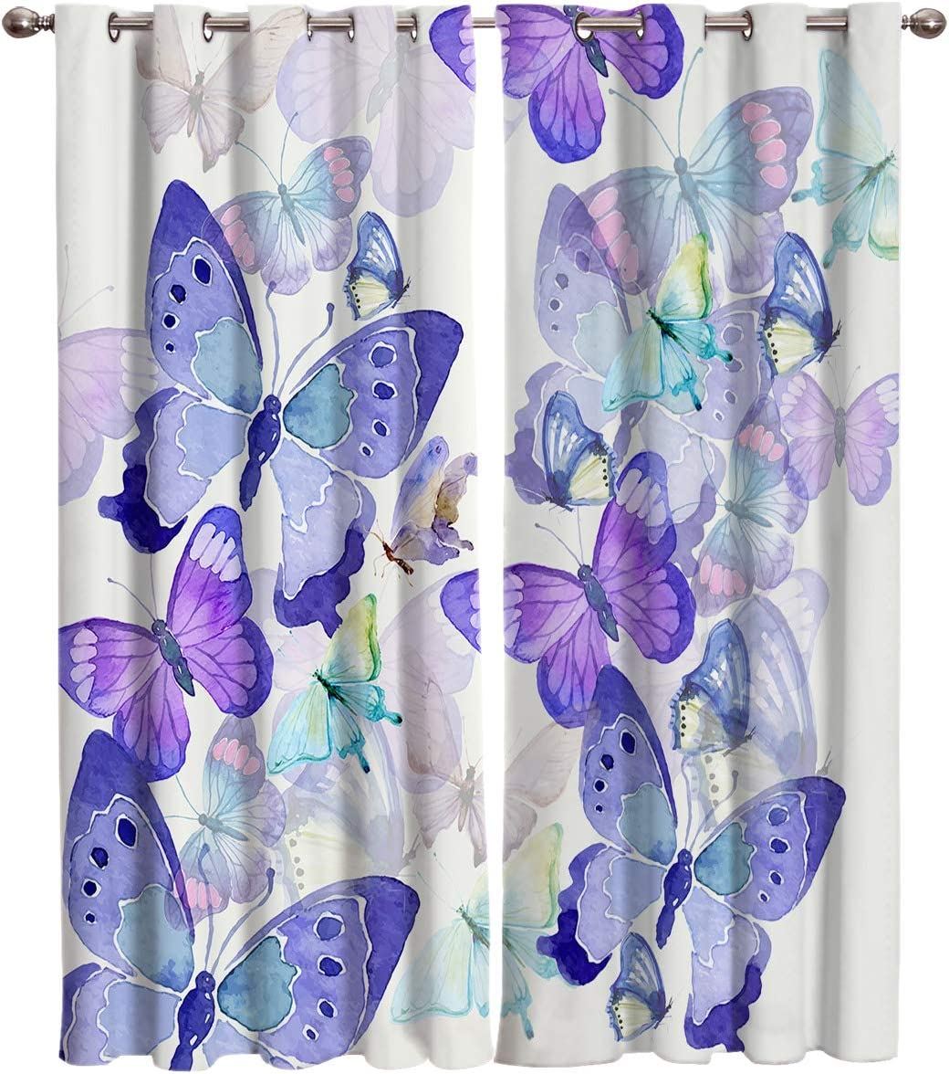 T H Home Draperies Curtains, Dazzling Colorful Butterfly Window Curtain, 2 Panel Curtains for Sliding Glass Door Bedroom Living Room, 104 W by 96 L