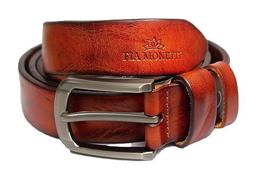 Fia Monetti - Cinturón de cuero para mujer, con moderna hebilla, ancho 2,8 cm