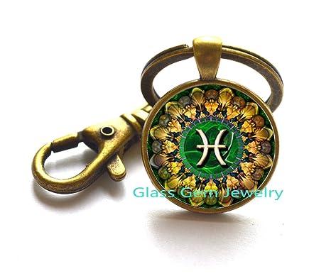 Llavero, diseño de símbolo zodiacal de Piscis, Piscis clave ...