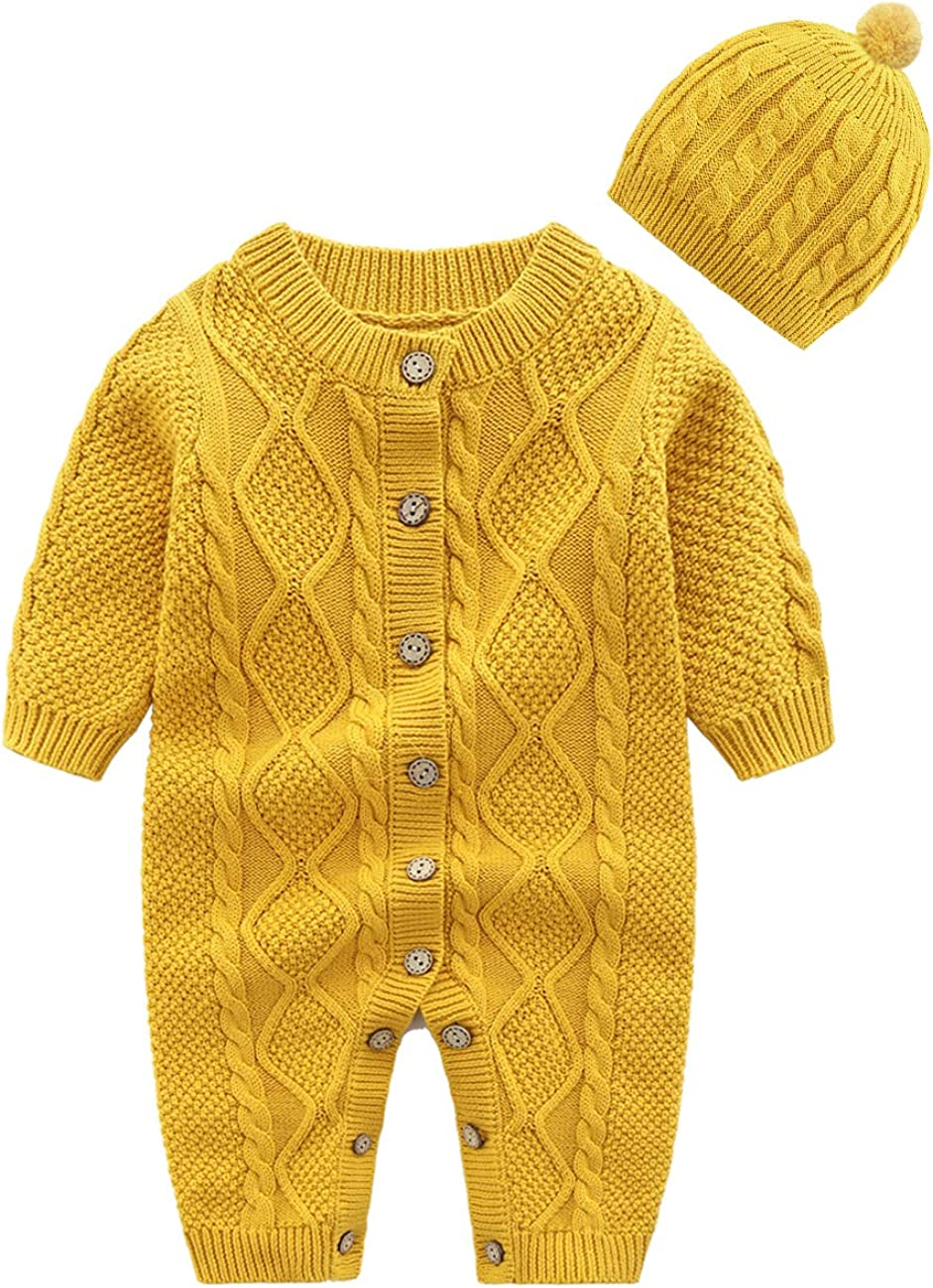 JunNeng Baby Newborn Cotton Knitted Sweater Romper Longsleeve Outfit with Warm Hat Set