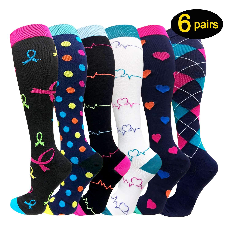 Compression Socks For Women Men 20-25mmHg-Best Medical, Nursing, Travel & Flight Socks - Running & Fitness Compression Stockings (S/M, Assorted)