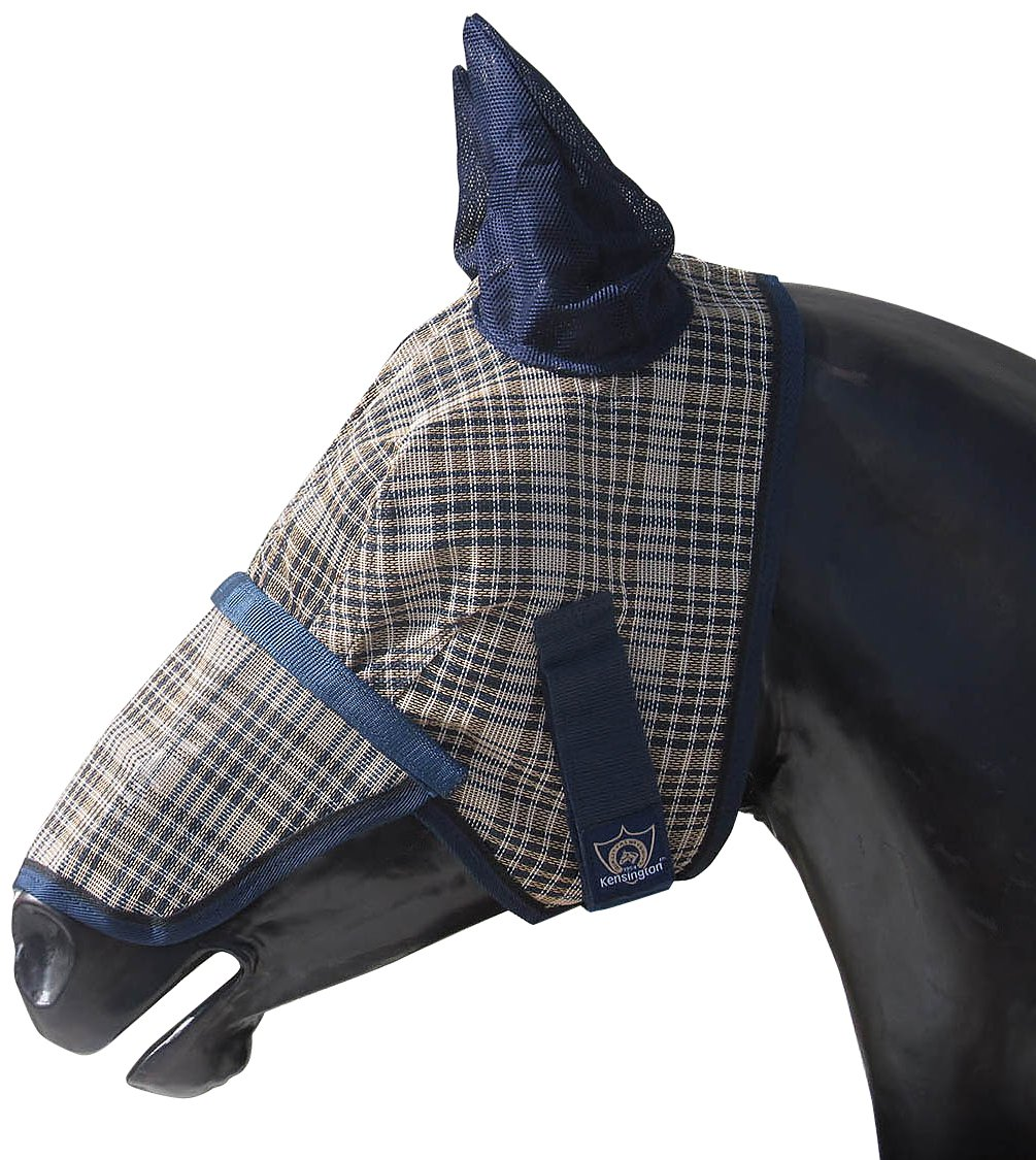 Kensington KPP Fly Mask with Nose Cover and Ears, English Navy Plaid, Medium