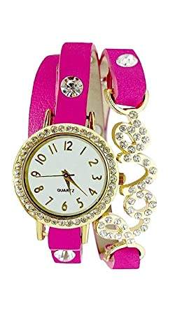 fc297169e Image Unavailable. Image not available for. Colour  Sale Crowd Pink Love  Dori Analogue White Dial Girl s Watch