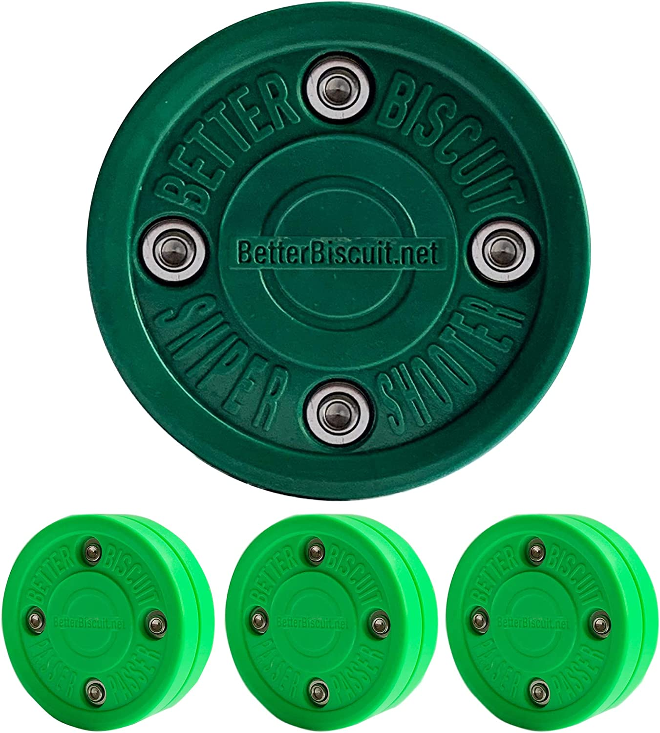 Green//Dark Green 3 Passer and 1 Shooter Better Biscuit 4 Pack