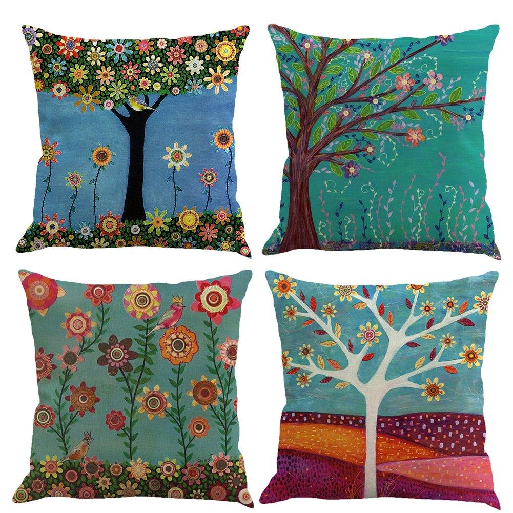 koyiscloth Conjunto de 4 hojas de jardín de arte de moda patrón de lino funda de almohada sofá decoración del hogar cubierta de cojín 45x45cm 18x18 pulgadas ZJFuture