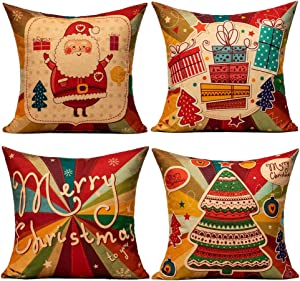 All Smiles Colorful Christmas Throw Pillow Covers Red Gold Vintage Holiday Cushion Decorative Religious Home Decor 18X18 Set of 4 Xmas Decorations with Santa Claus Tree Gifts for Sofa Couch
